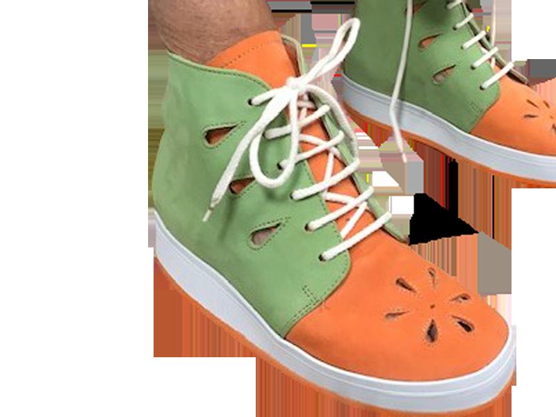 Chaussures orthopédiques vert et orange